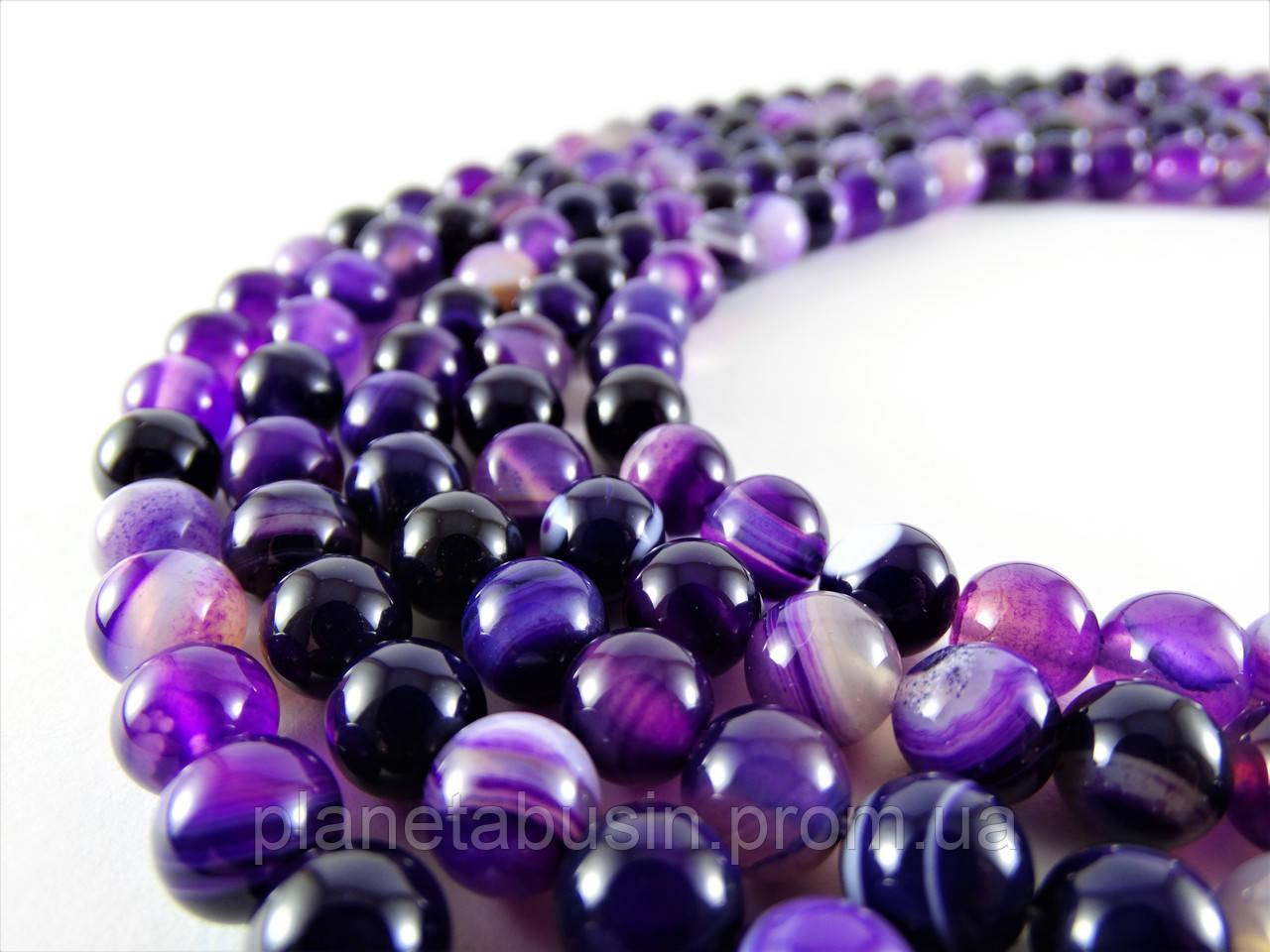 8 мм Фиолетовый Полосатый Агат, CN145, Натуральный камень, Форма: Шар, Отверстие: 1 мм, кол-во: 47-48 шт/нить