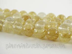 8 мм Цитрин волосатик, CN147, Натуральный камень, Форма: Шар, Отверстие: 1 мм, кол-во: 47-48 шт/нить, фото 2