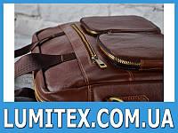 """Оригинальная мужская сумка из кожи с накладными карманами на """"молнии"""""""