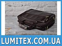 """Стильная кожаная мужская сумка, классический вариант, с потайнымы карманами на """"молнии"""""""