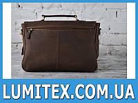 Стильная мужская сумка - портфель из толстой кожи с контрастной фурнитурой