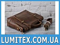 Классическая сумка - портфель из плотной кожи с застёжкой клапаном и ручкой - ремнём