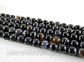 8 мм Чёрный Полосатый Агат, CN149, Натуральный камень, Форма: Шар, Отверстие: 1 мм, кол-во: 47-48 шт/нить, фото 2