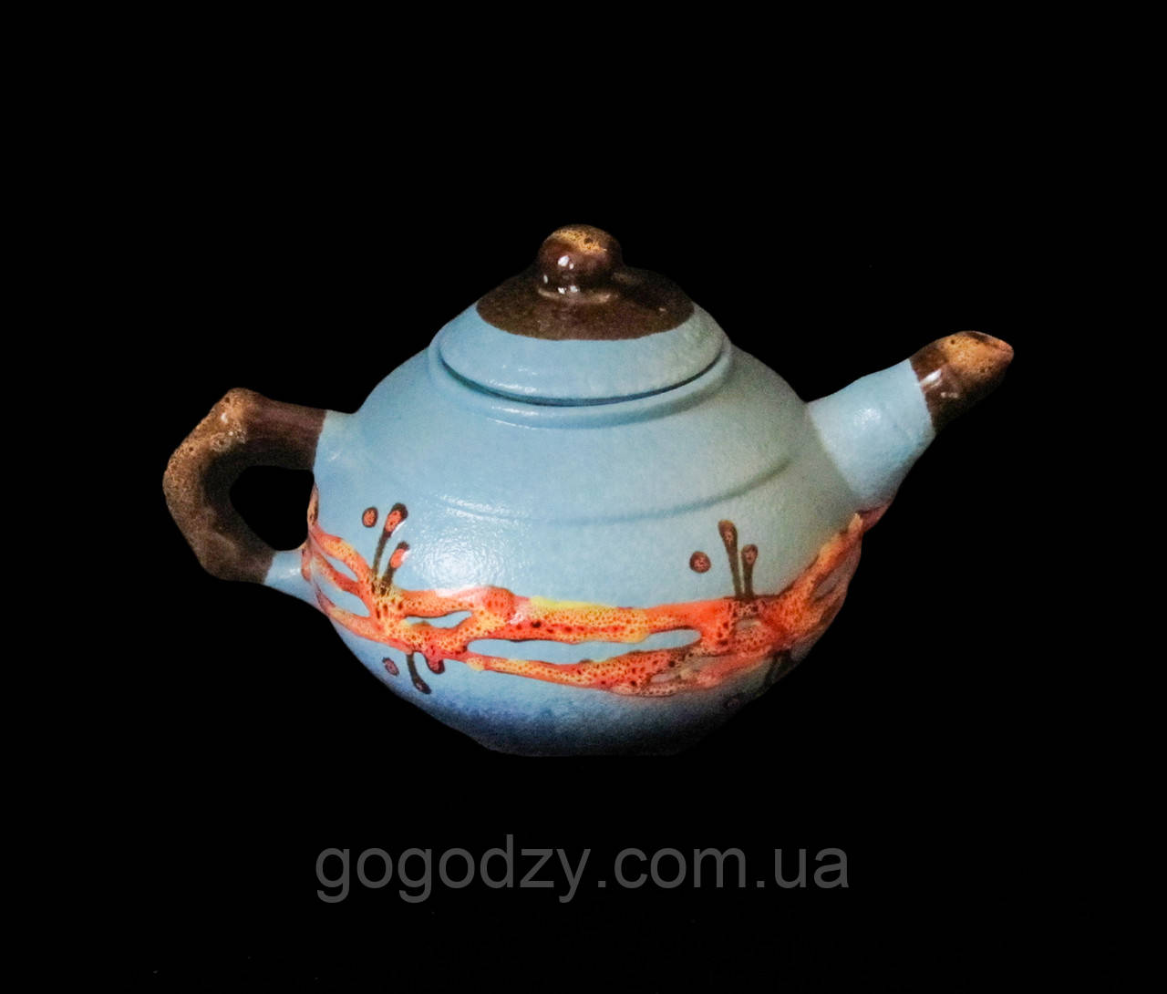 "Чайник малий, декор ""Крайка"" блакитний"