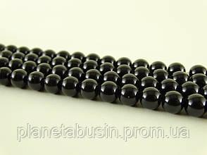 8 мм Чёрный Обсидиан, CN150, Натуральный камень, Форма: Шар, Отверстие: 1 мм, кол-во: 47-48 шт/нить, фото 2