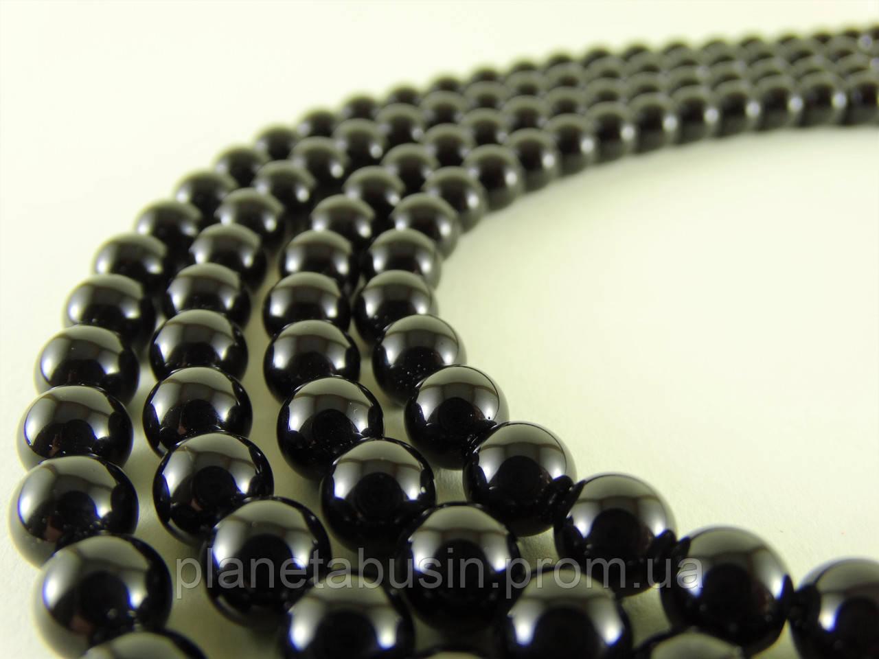 8 мм Чёрный Обсидиан, CN150, Натуральный камень, Форма: Шар, Отверстие: 1 мм, кол-во: 47-48 шт/нить