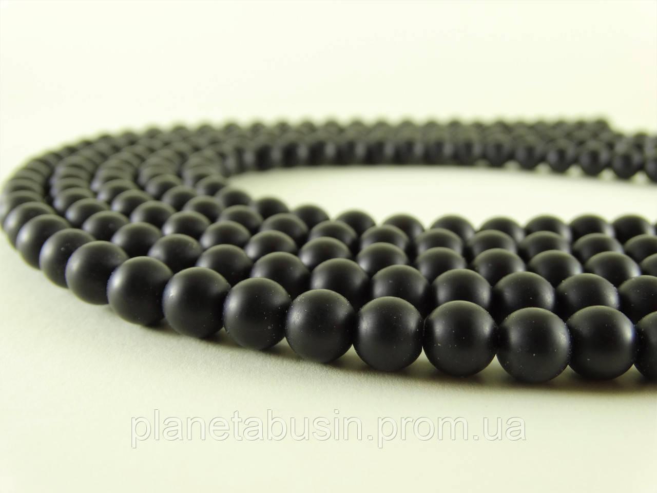 8 мм Чёрный Матовый Оникс, CN151, Натуральный камень, Форма: Шар, Отверстие: 1 мм, кол-во: 47-48 шт/нить