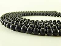 Чёрный Матовый Оникс, Натуральный камень, На нитях, 8 мм, Шар, Отверстие 1 мм, кол-во: 48 шт/нить