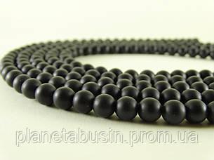 8 мм Чёрный Матовый Оникс, CN151, Натуральный камень, Форма: Шар, Отверстие: 1 мм, кол-во: 47-48 шт/нить, фото 2