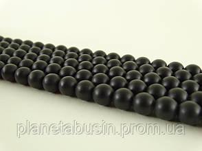 10 мм Чёрный Матовый Оникс, Натуральный камень, На нитях, 10 мм, Шар, Отверстие 1,5 мм, кол-во: 38-39 шт/нить, фото 2