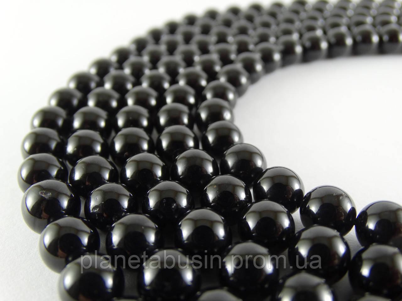 8 мм Чёрный Турмалин (Шерл) АА, CN152, Натуральный камень, Форма: Шар, Отверстие: 1 мм, кол-во: 47-48 шт/нить