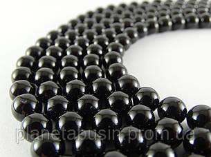 8 мм Чёрный Турмалин (Шерл) АА, CN152, Натуральный камень, Форма: Шар, Отверстие: 1 мм, кол-во: 47-48 шт/нить, фото 2