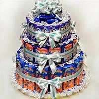 Детские торты из конфет, печенья и соков на День Рождения в детский сад, школу с открывающейся крышкой