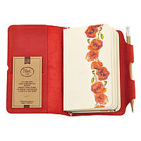 Компактний шкіряний блокнот з незвичайним принтом квітів