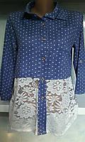 Женская рубашка в горошек с гипюром
