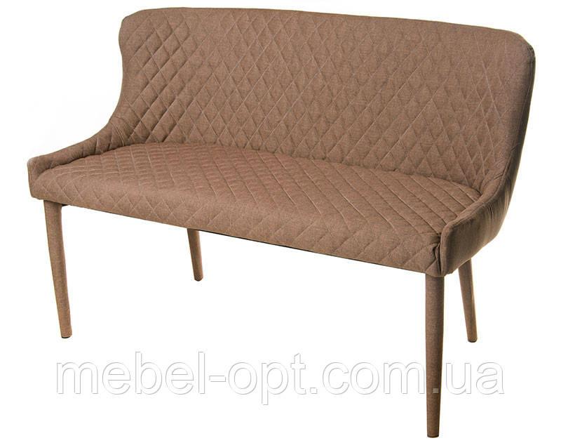 Кушетка М-20-1 спинка, сиденье и ножки обтянуты бежевой тканью, мебель в стиле модерн, для дома, HoReCa, офиса