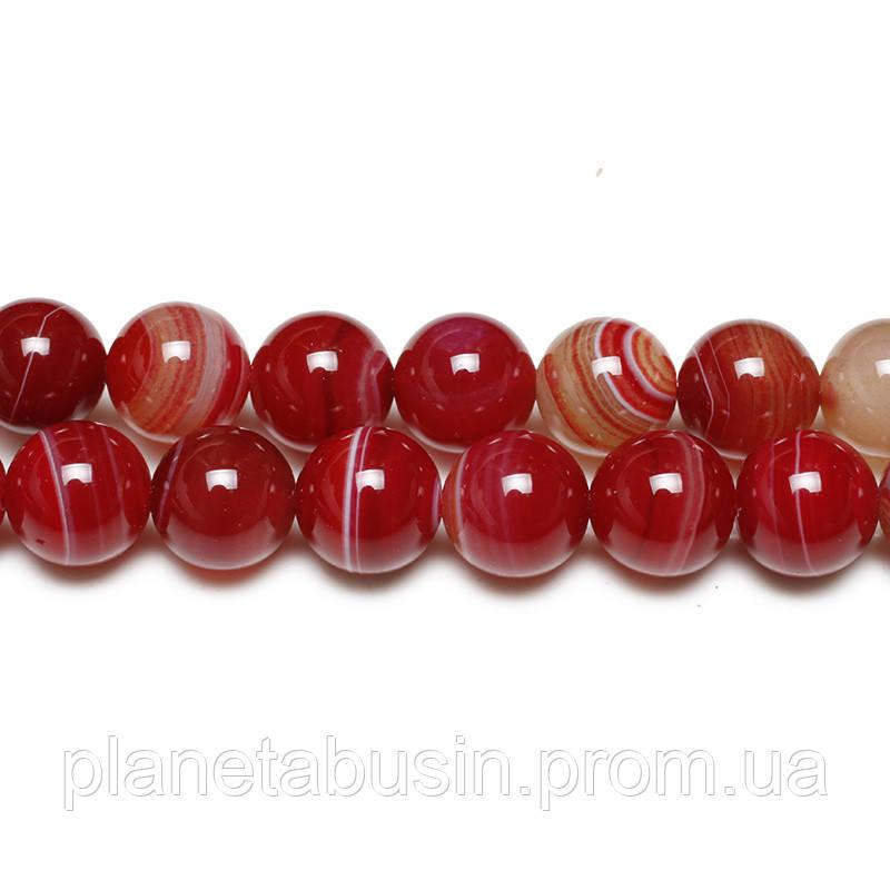 8 мм Тёмно-красный Агат, CN154, Натуральный камень, Форма: Шар, Отверстие: 1 мм, кол-во: 47-48 шт/нить