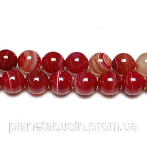 8 мм Тёмно-красный Агат, CN154, Натуральный камень, Форма: Шар, Отверстие: 1 мм, кол-во: 47-48 шт/нить, фото 2