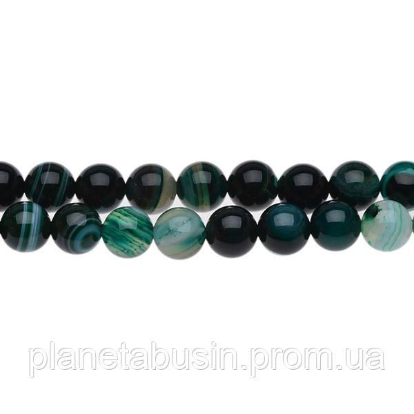 8 мм Тёмно-зелёный Агат, CN155, Натуральный камень, Форма: Шар, Отверстие: 1 мм, кол-во: 47-48 шт/нить