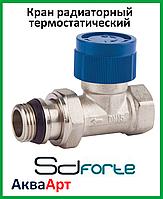 Кран радиаторный термостатический прямой с прокладкой антипротечка Sd Forte 1/2