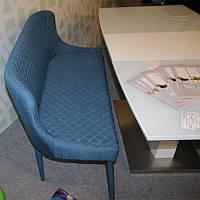 Кушетка М-20-1 спинка, сиденье и ноги обтянуты тёмно-синей тканью, стиль модерн, для дома, HoReCa, офиса
