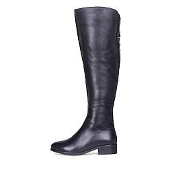 Осенние кожаные черные ботфорты на низком каблуке Meller