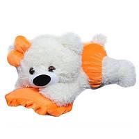 Плюшевая мишка Малышка белая с оранжевым