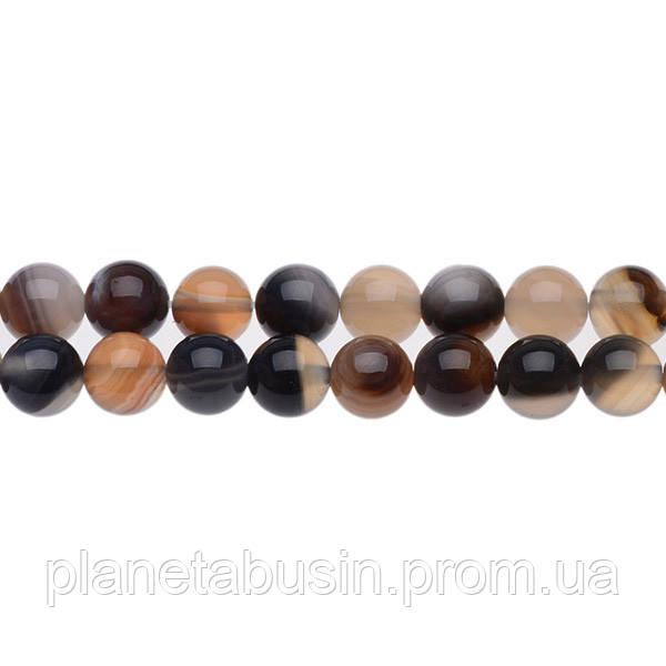 8 мм Кофейный Полосатый Агат, CN158, Натуральный камень, Форма: Шар, Отверстие: 1 мм, кол-во: 47-48 шт/нить