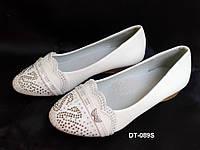 Белые нарядные балетки для девочек