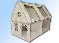 Домик деревянный кукольный для  детского творчества 2 этажный с росписью