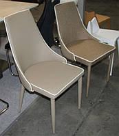 Стул металлический М-03-1 спинка, сиденье, ножки обтянуты кожзамом кофе мокка, кант белого цвета, стиль модерн