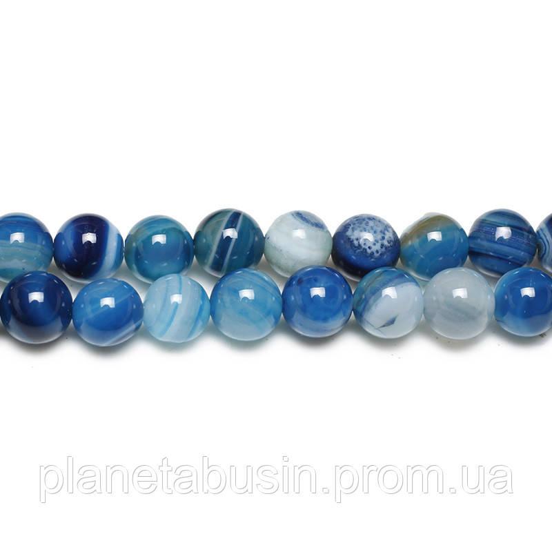 8 мм Голубой Полосатый Агат, CN159, Натуральный камень, Форма: Шар, Отверстие: 1 мм, кол-во: 47-48 шт/нить