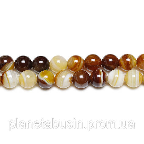 8 мм Кремовый Полосатый Агат, CN160, Натуральный камень, Форма: Шар, Отверстие: 1 мм, кол-во: 47-48 шт/нить, фото 2