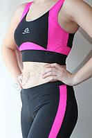 Топ спортивный черно-розовый, фото 1