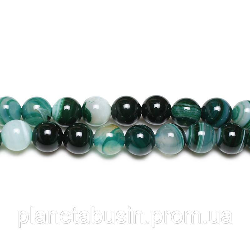 8 мм Зелёный Полосатый Агат, CN161, Натуральный камень, Форма: Шар, Отверстие: 1 мм, кол-во: 47-48 шт/нить