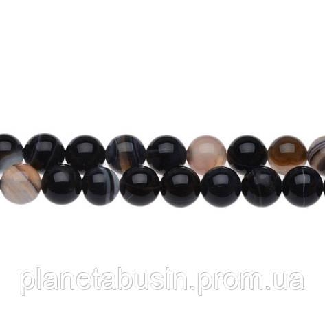 8 мм Чёрный Глазковый Агат, CN165, Натуральный камень, Форма: Шар, Отверстие: 1 мм, кол-во: 47-48 шт/нить, фото 2