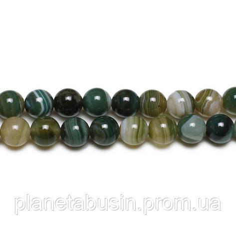 8 мм Зелёный Глазковый Агат, CN166, Натуральный камень, Форма: Шар, Отверстие: 1 мм, кол-во: 47-48 шт/нить, фото 2