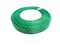 Лента атласная горох, цвет зеленый, ширина 15мм ( 45м в бобине)