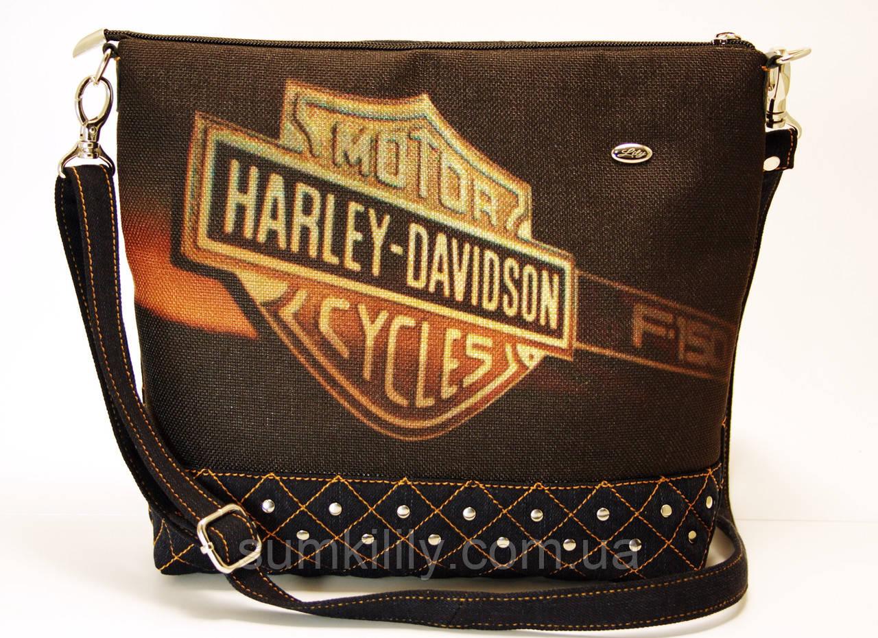 Джинсовая стеганная сумочка HARLEY 2