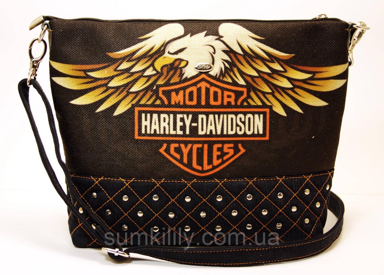 Джинсовая стеганная сумочка HARLEY 3