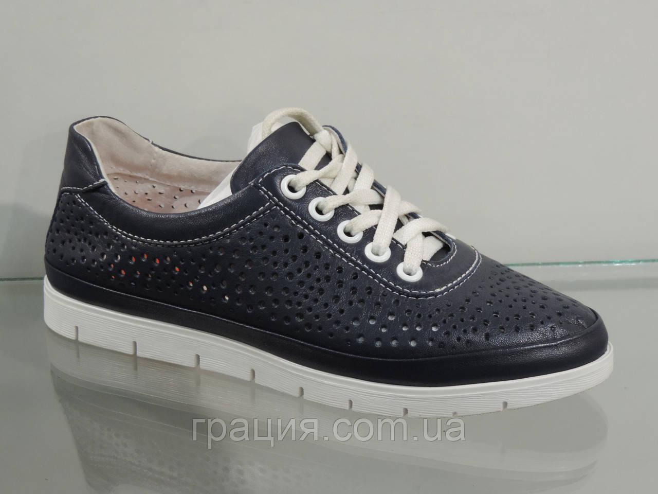 Туфлі жіночі шкіряні зручні темно-сині