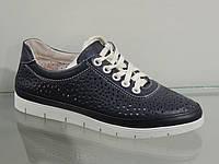 Туфли женские кожаные удобные темно-синие