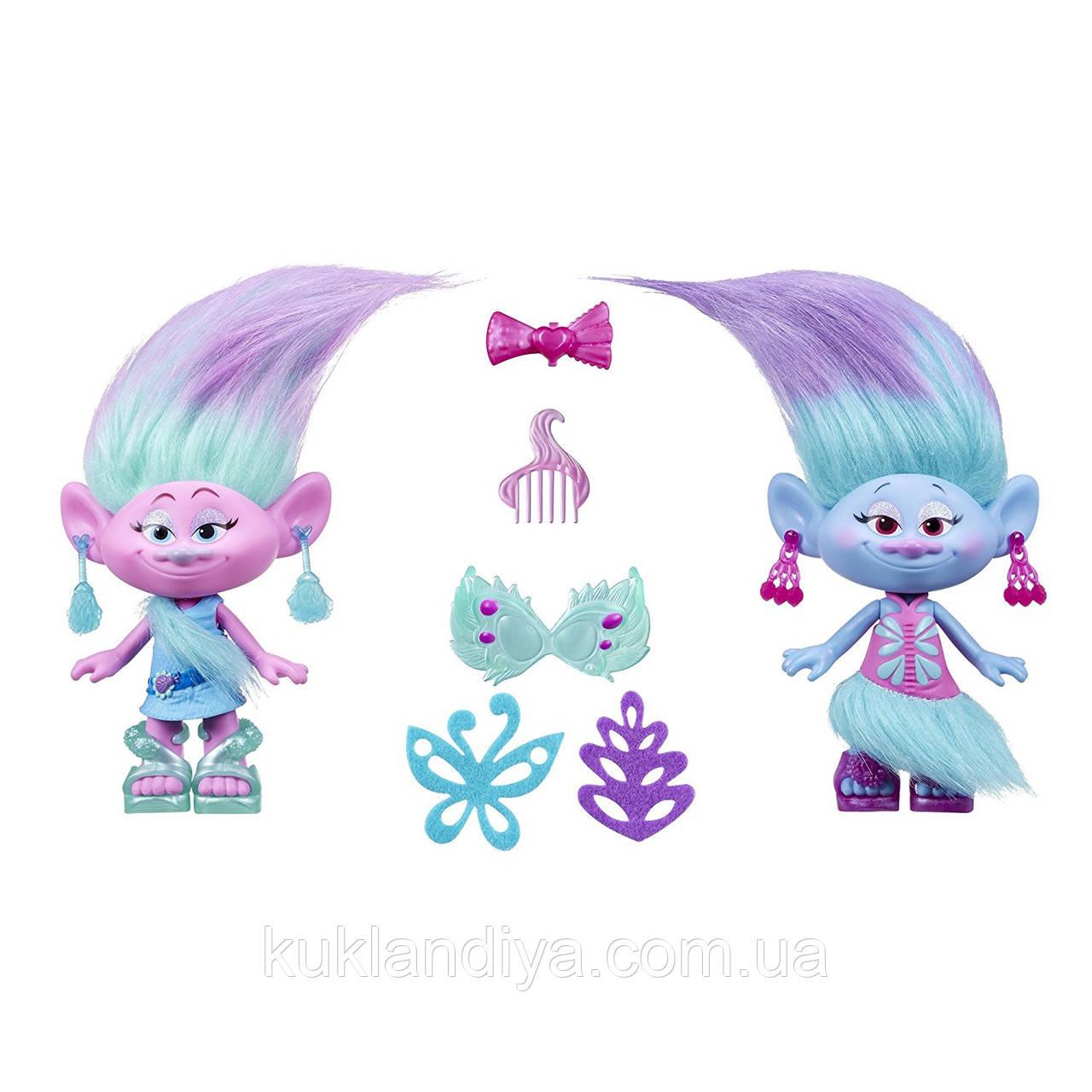 Ігровий набір Тролі Модні близнюки Сатинка і Синелька 23см DreamWorks Trolls Satin and Chenille's