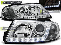 Линзовые фары Фольксваген Пассат Б5 фейслифт 2000-2005 c дневными ходовыми огнями