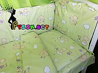 """Постельный набор в детскую кроватку (8 предметов) Premium """"Мишки на облаке"""" салатовый, фото 1"""