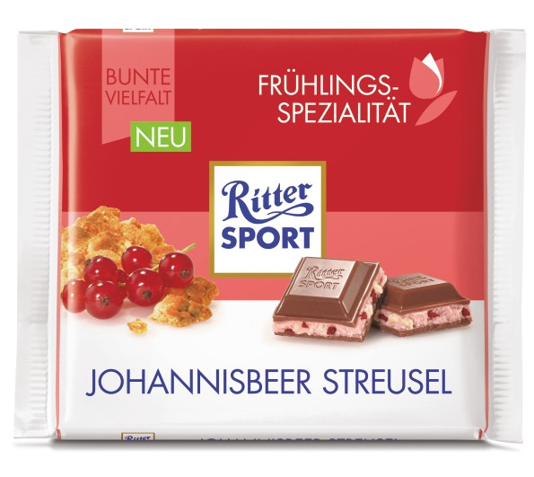 Шоколад Ritter Sport Johannisbeer Streusel (Риттер Спорт смородина + печенье), 100 г