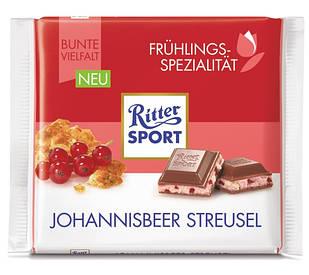 Шоколад Ritter Sport Johannisbeer Streusel (Ріттер Спорт смородина + печиво), 100 г