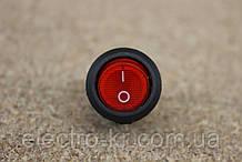 Кнопка переключатель с подсветкой круглый (ON-OFF), 3pin 6A 220v красный