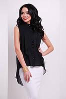 Черная шифоновая блузка без рукавов.  Молодежные блузки. Блуза нарядная. Шикарная блуза.