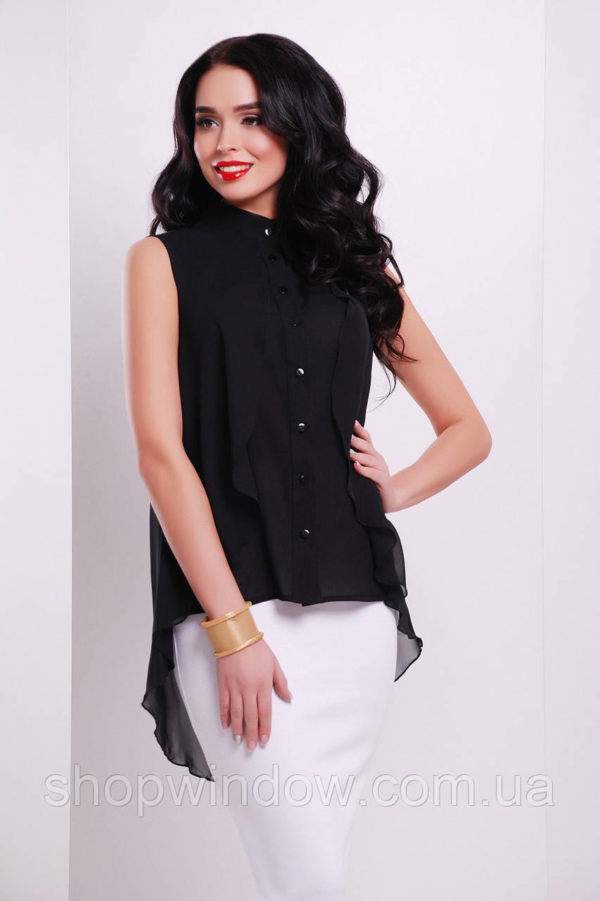 Черная шифоновая блузка без рукавов. Молодежные блузки. Блуза нарядная. Шикарная  блуза. 53ef1dd68f4